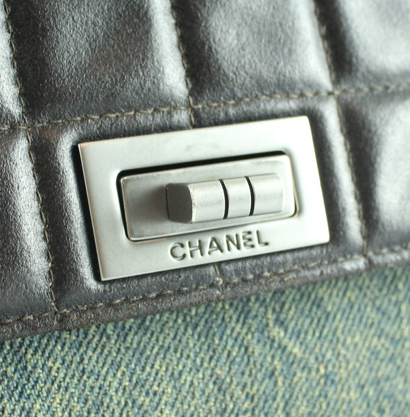Chanel Mademoiselle Chocco Bar Flap Lambskin And Denim Accordion Bag 2000/02