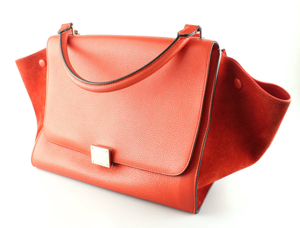 Celine Medium Trapeze In Red Suede And Leather SH