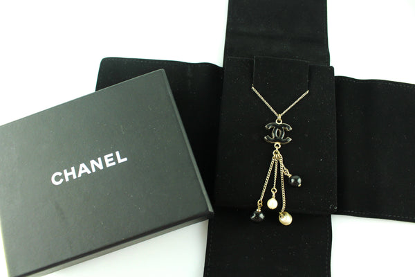 Chanel 2014 Black CC Pearl Dangle Necklace