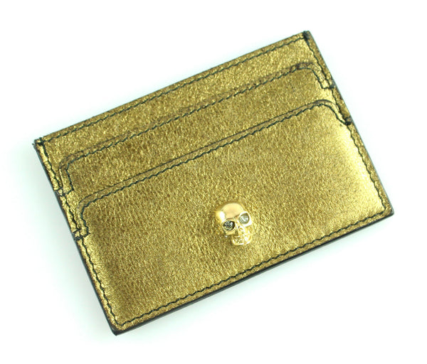 Alexander McQueen Gold Soft Card Holder