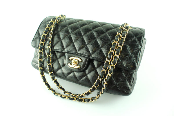 Chanel Classic Double Flap Medium Caviar Leather With Gold Hardware 2009
