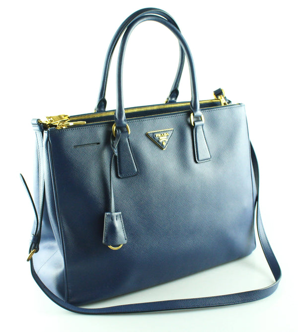 Prada Dark Blue Saffiano Galleria Twin Zip Tote Med