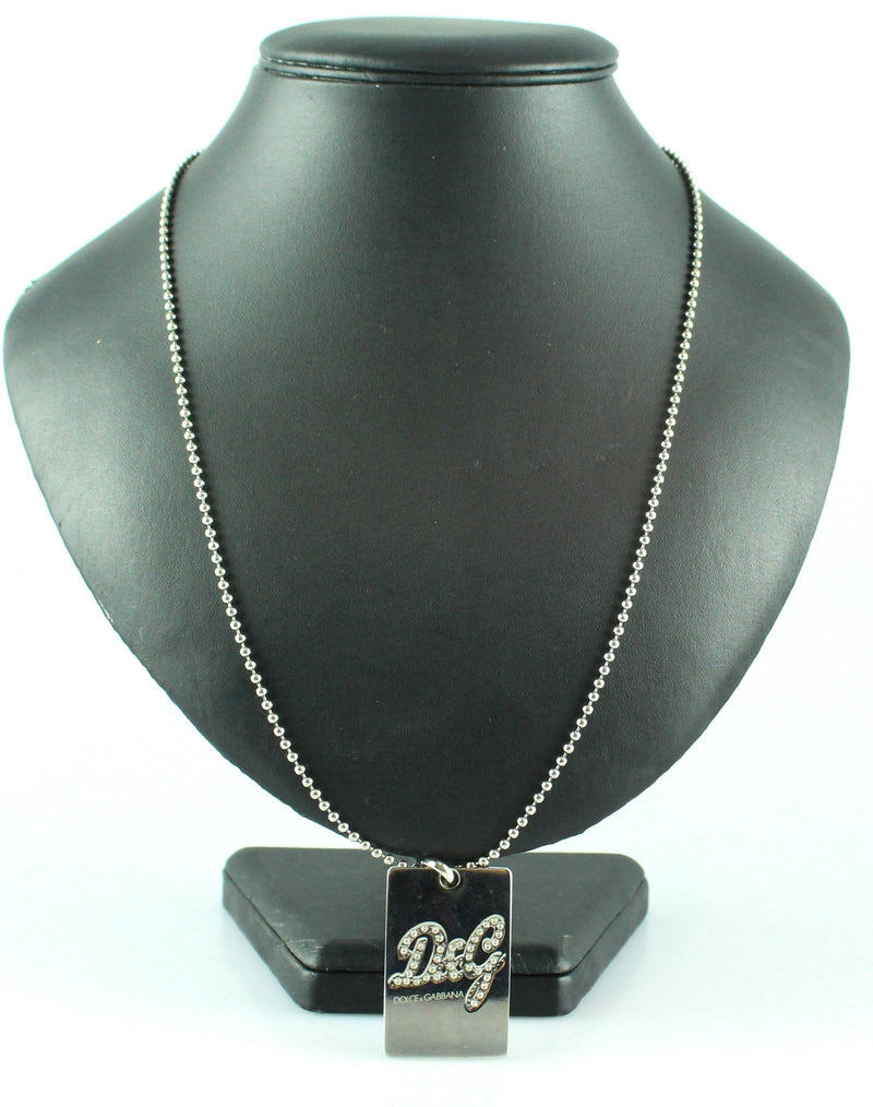 Dolce And Gabbana Diamante Logo Tag Necklace Metal