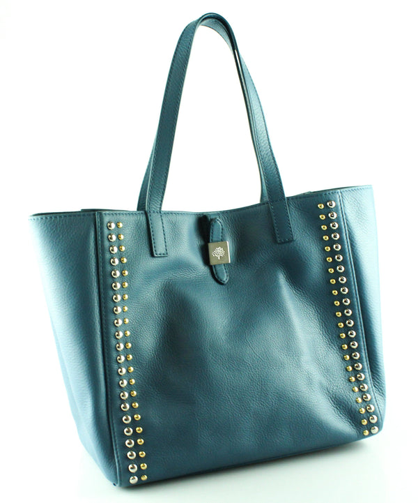 Mulberry Steel Blue Small Soft Grain Riveted Tessie Tote