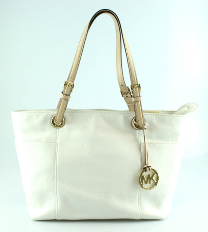 1ae51b80392c Michael Kors White Leather Jet Set Tote GH Tan Leather Handles