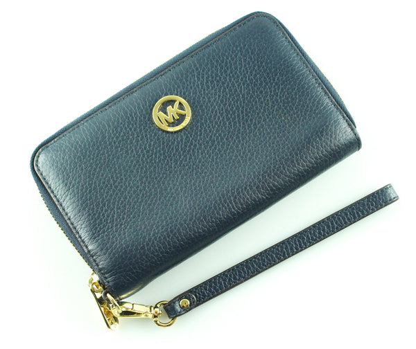 Michael Kors Navy Wristlet Gold Hardware