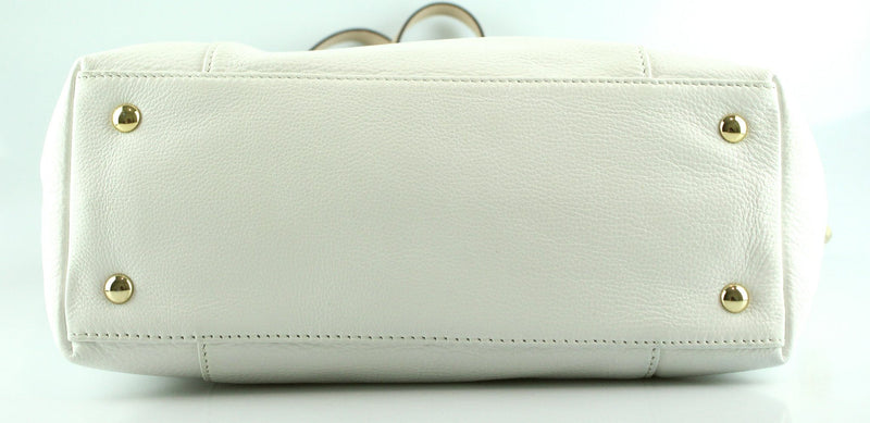 Michael Kors White Leather Jet Set Tote GH Tan Leather Handles