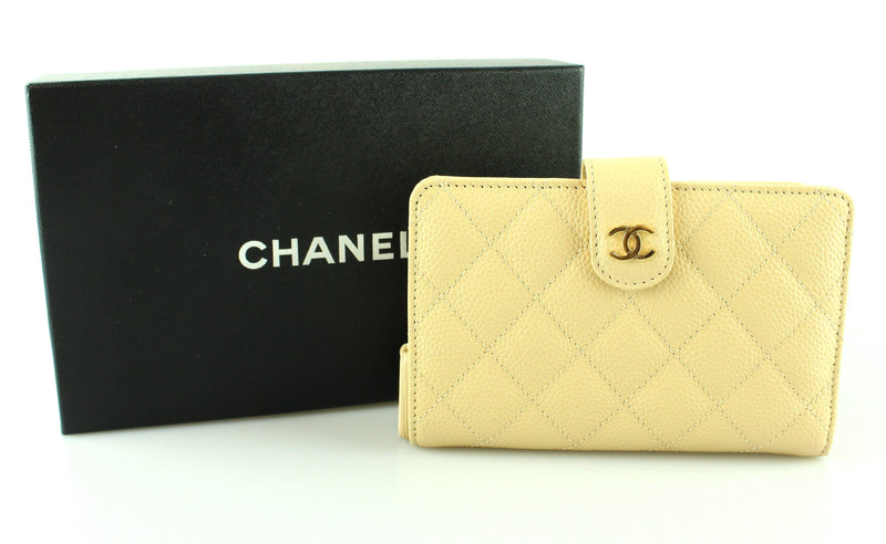 Chanel Beige Clair Caviar Medium Compact Wallet 2012