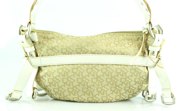 DKNY Monogram White and Beige Small Buckle Bag