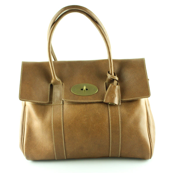 Mulberry Bayswater Oak Natural Veg tanned Leather With Brass Hardware