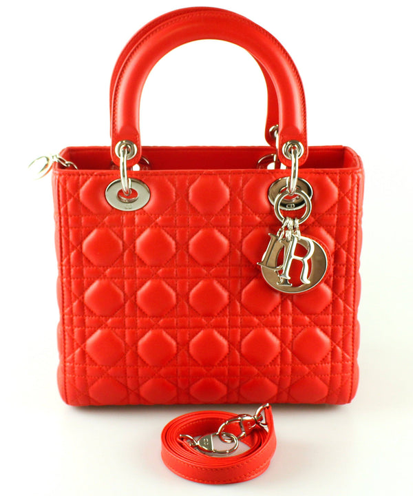 Christian Dior Lady Dior Lambskin Red Silver Hardware