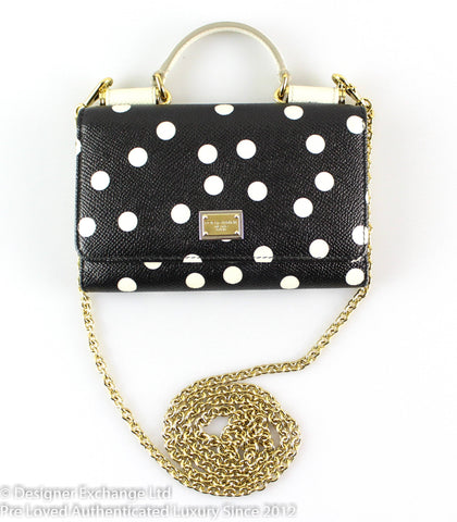 Dolce & Gabanna Miss Sicily Mini (Von Bag) Polkadot Chain Wallet