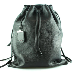 DKNY Black Grained Leather Trapeze Style Backpack