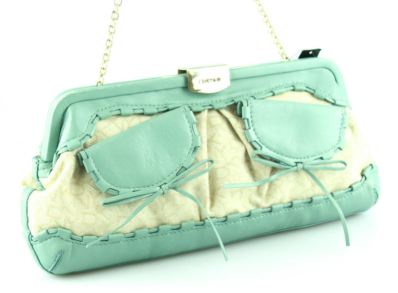 DKNY Cream Monogram With Green Leather Trim Small Chain Bag