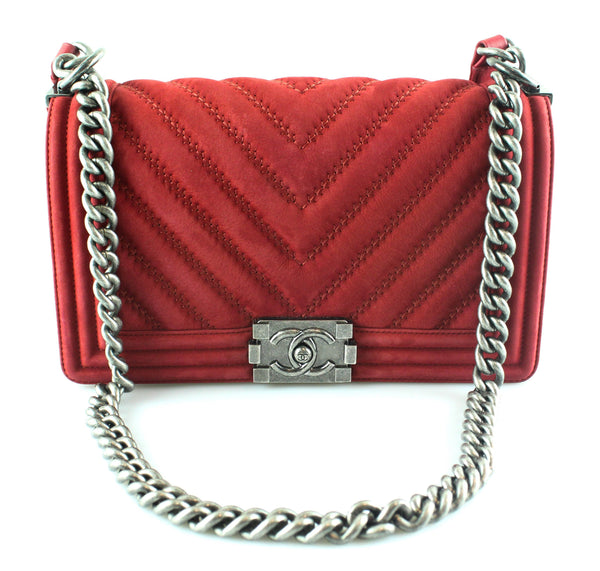 Chanel Chevron Nubuck Red Medium Boy Bag 2017
