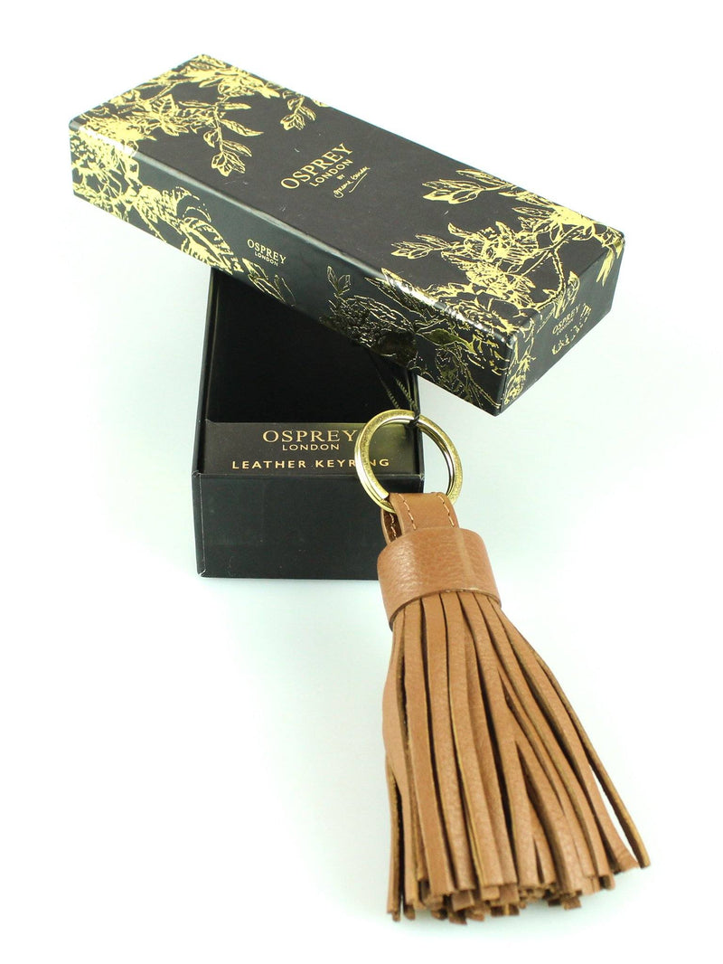 Osprey Tan Leather Tassel Keyring