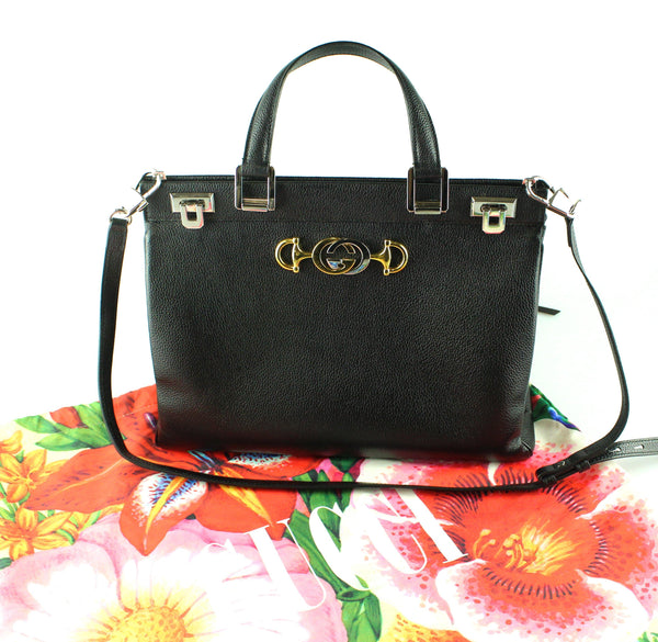 Gucci Zumi Grainy Black Leather Medium Top Handle Bag