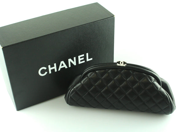 Chanel CC Timeless Clutch Black lambskin Quilted Leather 2008/09