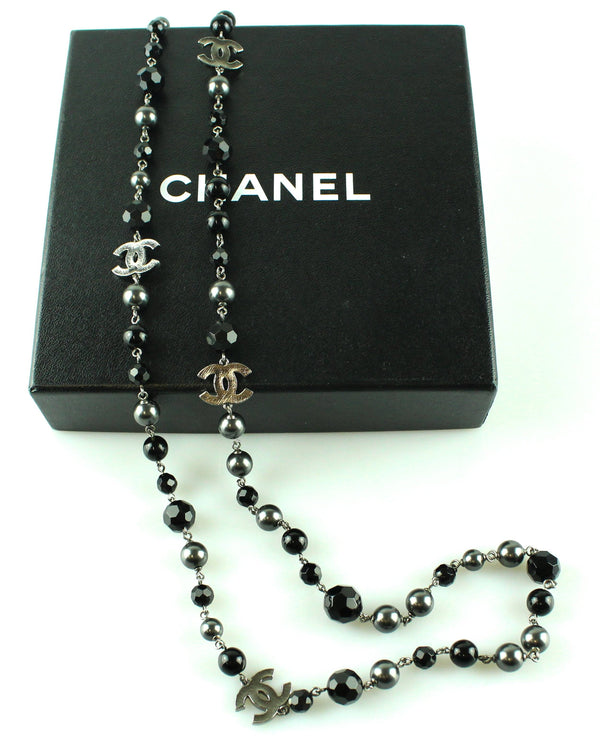 Chanel 2010 Black And Gunmetal Bead/Pearl  Single Strand Necklace