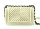 Chanel Small Boy Bag Beige Chevron Calf Leather Ruthenium Hardware 2014/15 (RRP €4300)