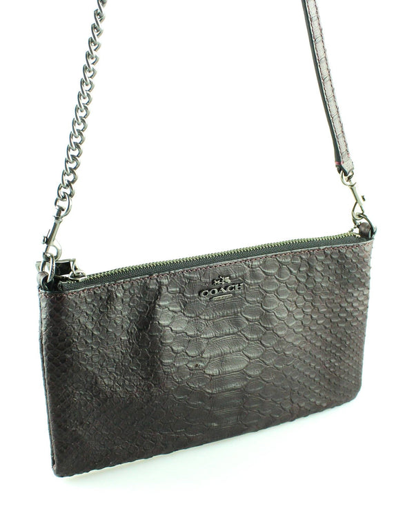 Coach Snake embossed Purple Zipped Messenger