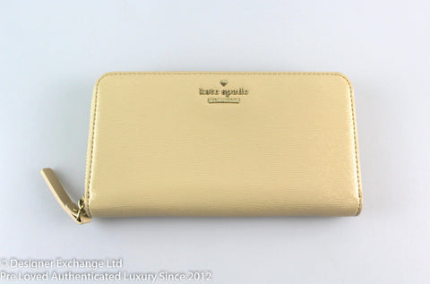 Kate Spade Cream Patent Large Zip Around Wallet