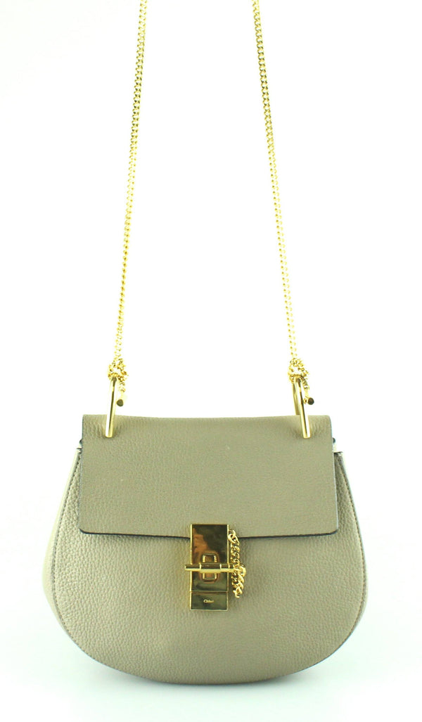 Chloe Drew Motty Grey Grained Leather with Gold Hardware