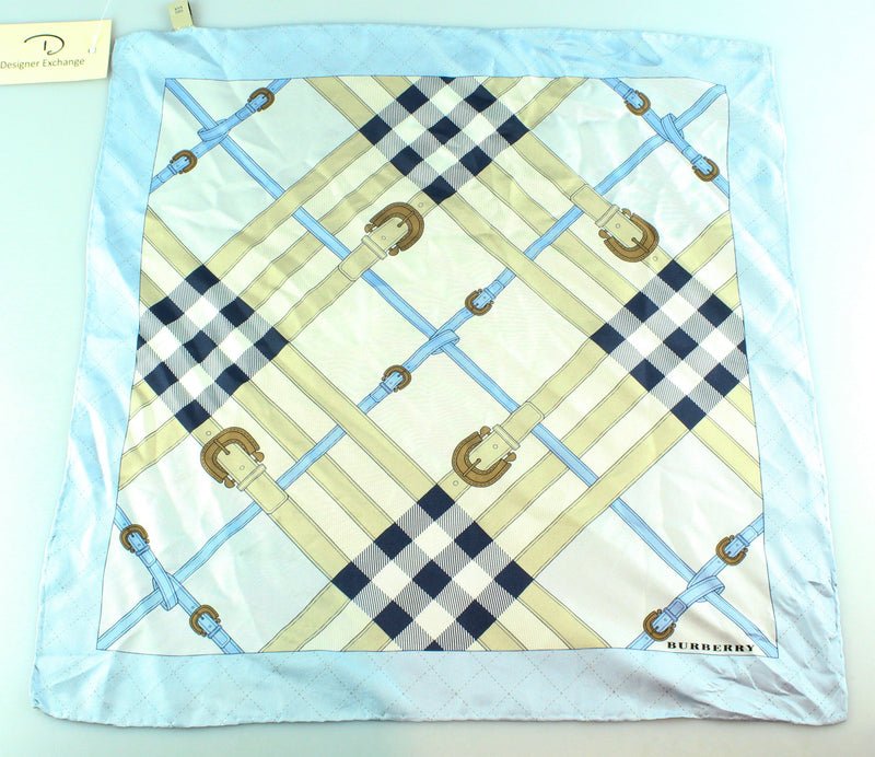 Burberry Blue Check Small Silk Scarf Buckle Detail