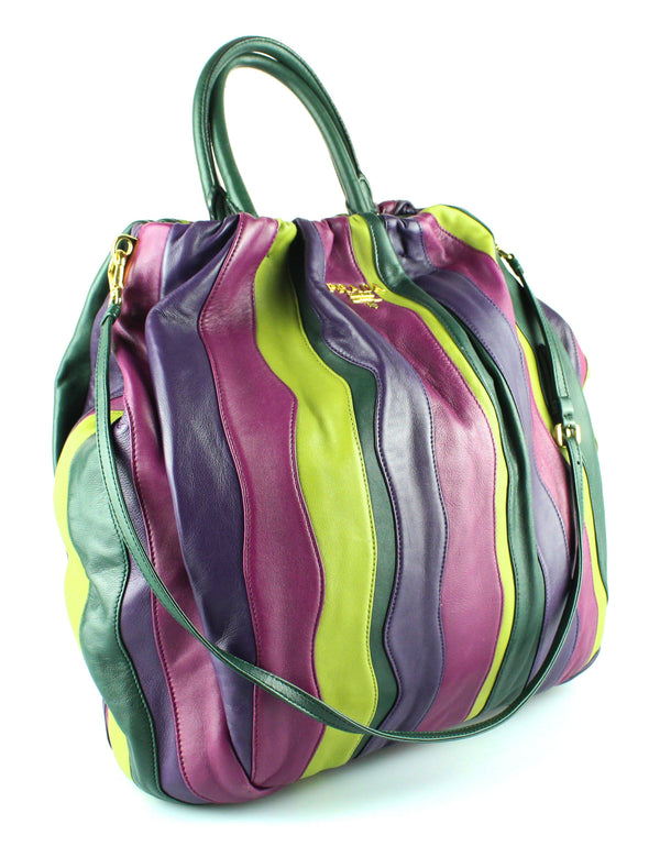 Prada Nappa Viola Stripes Large Hobo