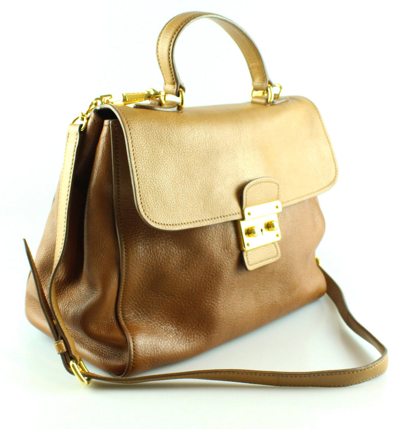 Miu Miu Tan Soft Grain Satchel With Shoulder Strap