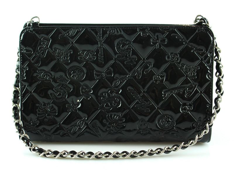 Chanel 2007 Patent Small Quilted Evening Bag SH