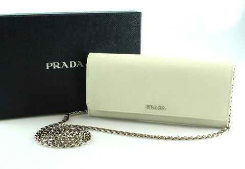 Prada White Wallet On Chain Saffiano Leather