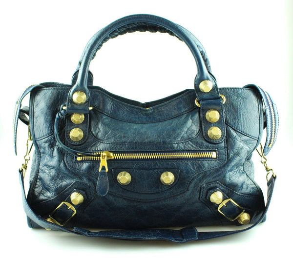 Balenciaga Midnight Blue Lamb Leather City Bag Giant Gold