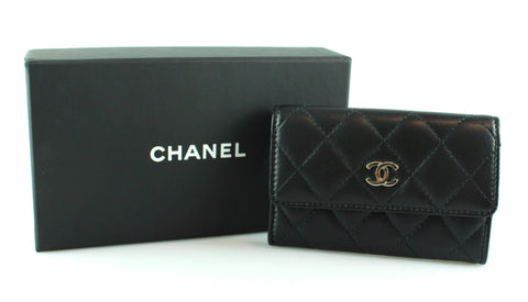 dfb3625378de Chanel Black Lambskin Quilted Card/Coin Purse SH 2016/17