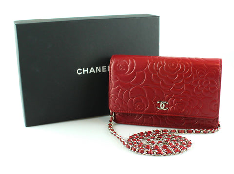 52386f8b0328 Chanel Camelia Embossed Rouge Lambskin Wallet On Chain 2014