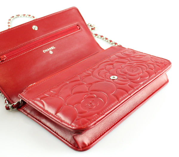 Chanel Camelia Embossed Rouge Lambskin Wallet On Chain 2014
