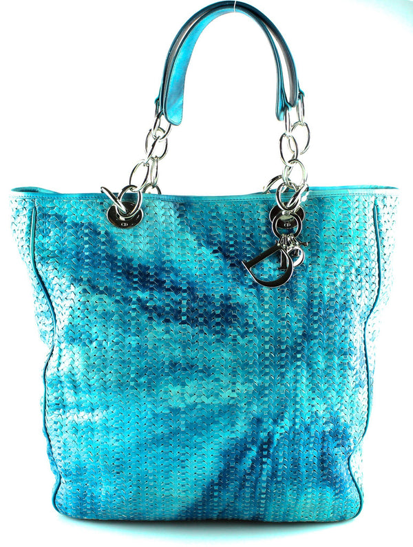 Christian Dior Multi Blue Woven Leather Lady Dior Shopper SH