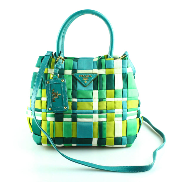 Prada Multi Green Nylon Top Handle X Body