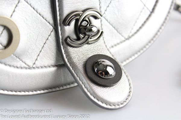Chanel 2017 Silver Saddle Bag With Grommet Feature Runway Piece