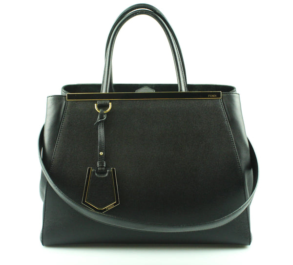 Fendi Black Vitello Elite Regular 2Jours Tote Black