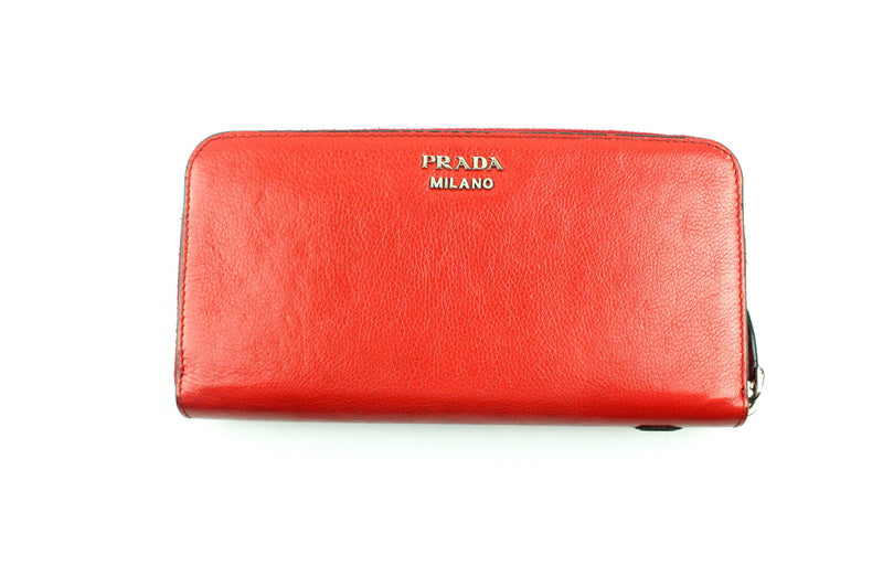 Prada Red Leather Pop Art Zip Around Wallet Red/Black