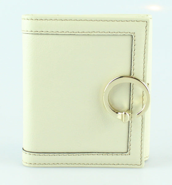 Gucci Cream Leather Insignia Wallet Compact