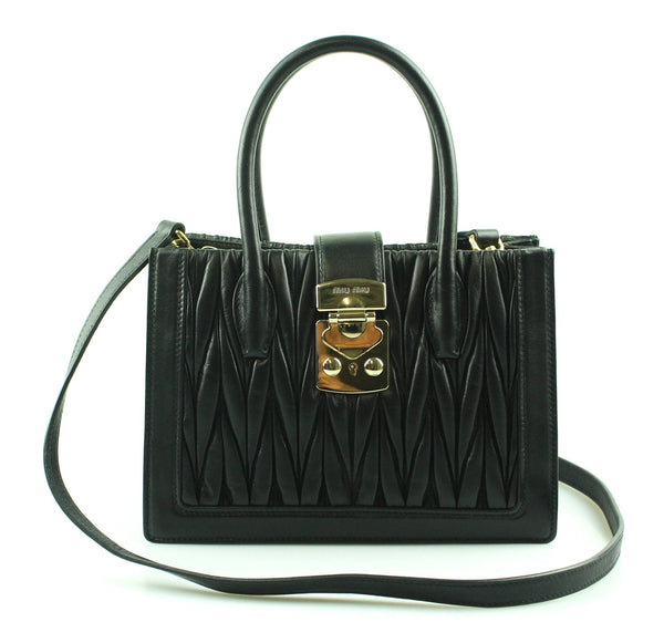 Miu Miu Black Nappa Leather Confidential Bag Small With Strap