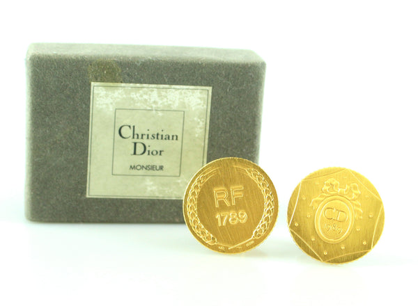 Christian Dior 24ct Gold Plated French Revolution Coin Cuff Links