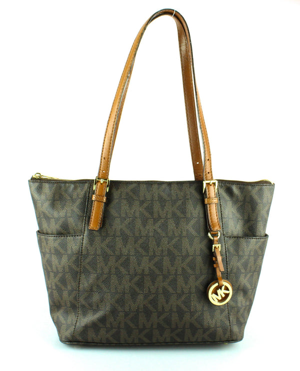 Michael Kors Tan Monogram Jet Set Side Pocket Tote