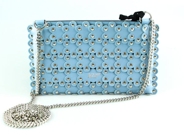Red Valentino Baby Blue Studded Flower Cross Body Pochette RRP €295