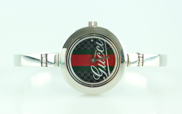 Gucci Silver Web Detail Face Watch