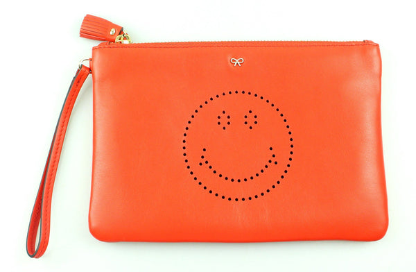 Anya Hindmarch Orange Smiley Face Zipped Pouch