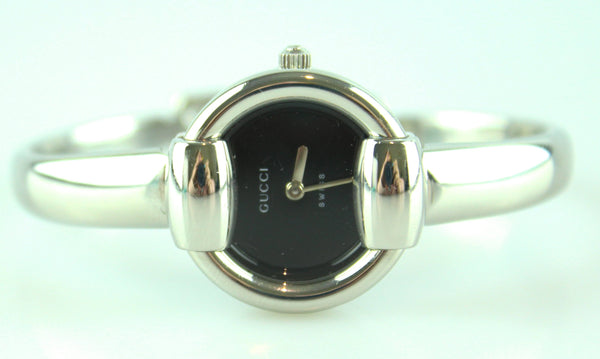 Gucci Silver Black Face Bangle Watch