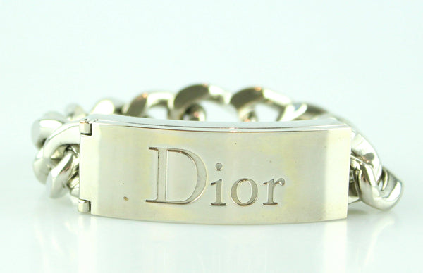 Christian Dior Silver Chunky Chain Bangle With Lipgloss Duo